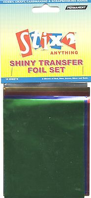 10 Sheets Transfer Foils Assorted Colours Red Blue Green Silver & Gold S57067 • 2.20£
