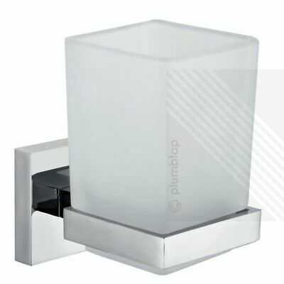 ECOSPA Frosted Glass Toothbrush Tumbler Bathroom Accessory • Chrome Holder • 9.95£