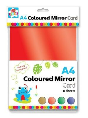 Pack 8 A4 Sheets Thick Metallic Coloured Mirror Card Red Gold Green Blue Pamg • 2.75£