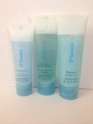 Crabtree & Evelyn La Source Shampoo Conditioner Body Wash Travel Holiday Bottle • 2.50£