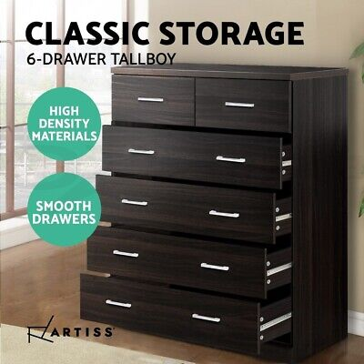 AU178.90 • Buy Artiss Tallboy 6 Chest Of Drawers Dresser Table Storage Cabinet Bedroom Walnut