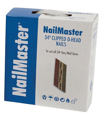 FOX Nailmaster 50mm,64mm,75mm,90mm Galvanised First Fix Clipped Head Nails & Gas • 42.95£