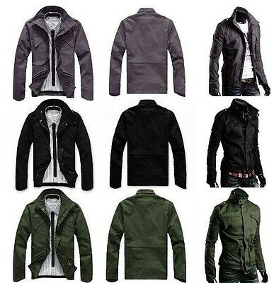 $44.99 • Buy Slim Fit Mens Military Style High Collar Casual Jacket Zip Button Coat  PK40