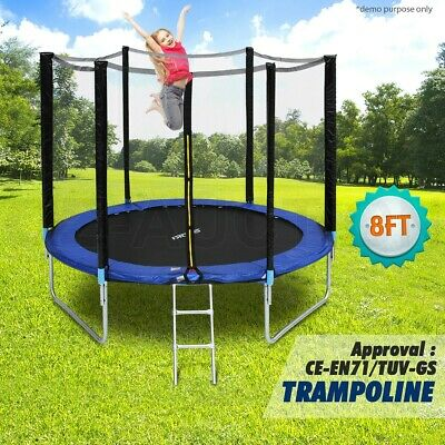 AU204.95 • Buy Genki 8ft Round Trampoline With Safety Net Enclosure Spring Pad Cover & Ladder