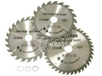£9.48 • Buy 3pc 184mm Tct Circular Saw Blades 20, 24 & 40 Teeth With Adapter O Rings 185mm