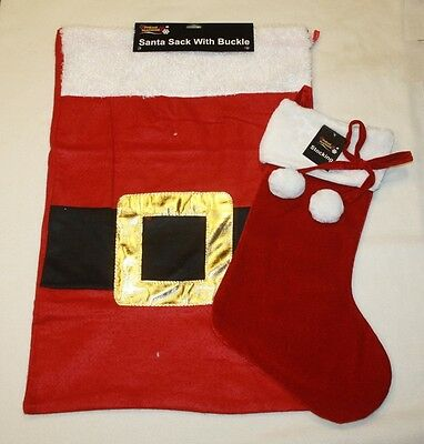 £3.99 • Buy Red Santa Father Christmas Choice Of Sack With Buckle Christmas Stocking L202