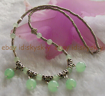 £3.29 • Buy Lovely Natural Light Green Jade Round Beads Pendants & Tibet Silver Necklace 18