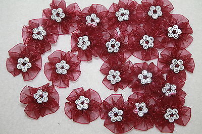 Diamante Chiffon Flowers 20pc Sewing Embellishment Haberdashery Craft Baby Dress • 6.59£