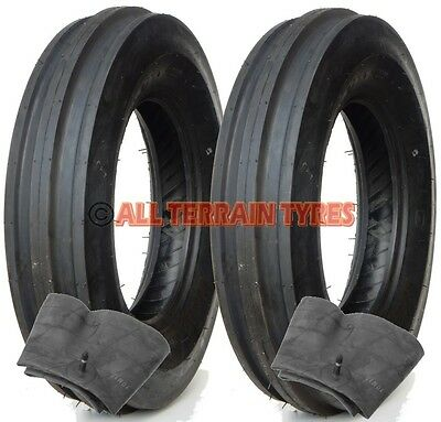 2x 6.00-16 6 Ply Classic Vintage Tractor 3 Rib Front Tyres & Tubes 600-16 600x16 • 129£