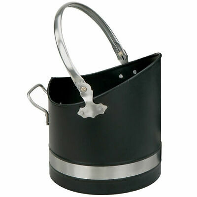 Manor 1396 Warwick Coal Bucket Hod Scuttle Black & Pewter 24cm Diameter Fireside • 42.95£