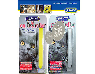 £2.50 • Buy Cat FLEA Collar  REFLECTIVE  By JOHNSONS With Or Without A ENGRAVED PET ID TAG