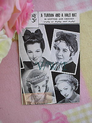 Vintage 1940s Knitting Pattern For Lady's Turban With Bow & Crocheted Halo Hat. • 2.99£