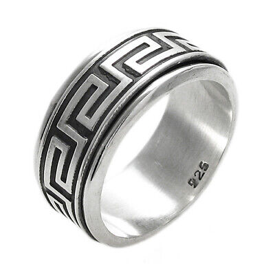 925 Sterling Silver Men's Greek Key Spinning Band Ring Size 9-14 • 20.03£