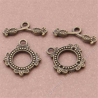 £1.88 • Buy 10 Sets Antique Bronze Flowers  OT  Toggle Clasps Jewellery Making S401T