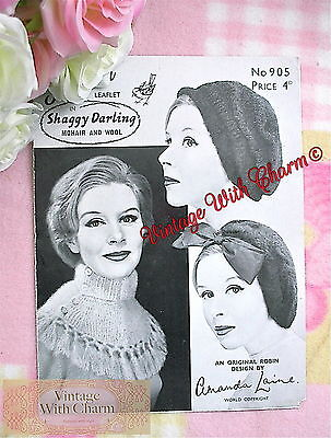 Vintage Knitting Pattern Lady's Hat, Beret & Tasseled Collar. 3 Styles In Mohair • 2.99£