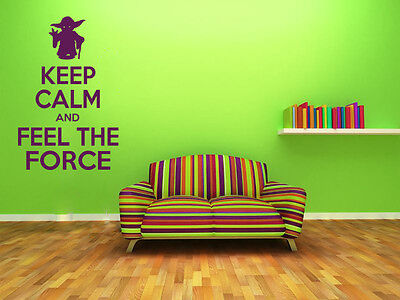 £17.95 • Buy Keep Calm And Feel The Force Wall Art Quote, Wall Sticker, Modern Decal Transfer
