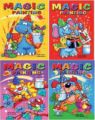 £2.99 • Buy Set Of 4 X A5 Magic Painting Colouring Books Childrens No Mess Craft Series 910