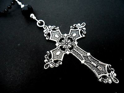 A Lovely Big  Cross/crucifix Black Ball Chain Necklace. Goth. 26  Long. New. • 3.99£