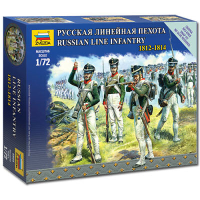 ZVEZDA 6808 Russian Line Infantry Napoleonic 1:72 Figures Snap Fit Model Kit • 5.40£