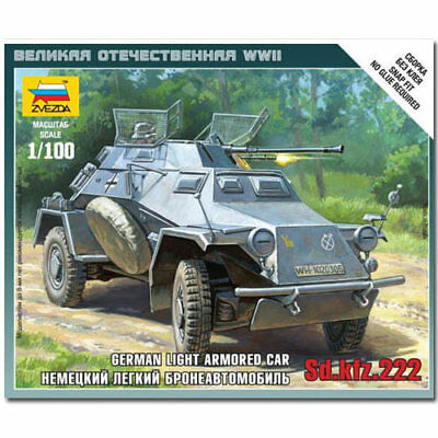 ZVEZDA 6157 Sd.Kfz. 222 Armoured Car Snap Fit Model Kit 1:100 • 5.49£
