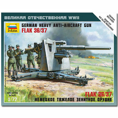 ZVEZDA 6158 German 88mm Flak 36/37 Snap Fit Model Kit 1:72 • 7.67£