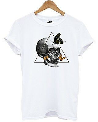 £9.95 • Buy Butterfly Skull White T Shirt Hipster Indie Grunge UK Fashion Graphic Emo