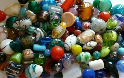 50 Grams ~Assorted Mixed Colours & Sizes~Foil, Lampwork,Glass,Beads**UK SELLER** • 1.25£