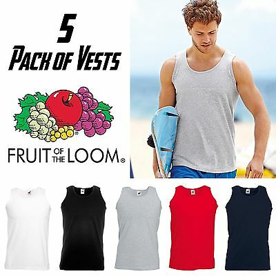 £19.95 • Buy 5 Pack Of Men Vest Fitted Sleeveless Tank Top Gym Cotton Plain Muscle Sport NEW