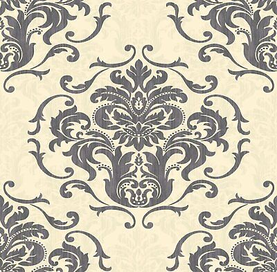 Cream Black Damask Wallpaper Luxury Feature Wall • 8.99£