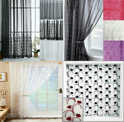 £11.49 • Buy Voile Panel Net Curtain 4 Great Designs Slot Top Header ~ Many Patterns & Sizes