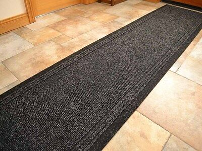 Black Heavy Duty Non-Slip Rubber Backed Hall Runners Extra Long Narrow Rug Cheap • 18£