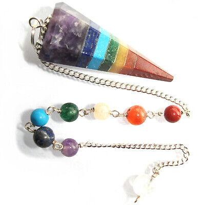 7 Chakra Point Dowsing Pendulum Crystal Healing Divination Reiki Therapy  • 4.49£