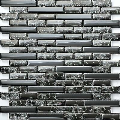 Stunning Black Crackle & Plain Glass Mosaic Wall Tile Sheet 300x300x8mm (MT0074) • 7.49£