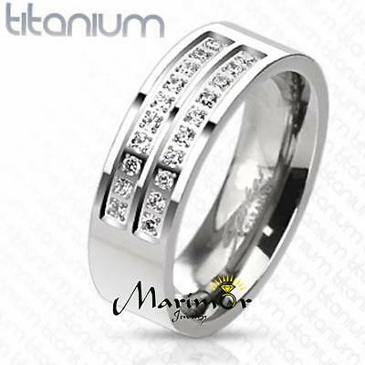 $26.06 • Buy Men's Solid Titanium Simulated Diamond Micro Paved Wedding Band Ring Size 8-13