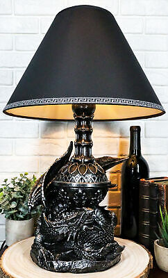 Awakening Of The Mordor Gothic Dragon Desktop Table Lamp Statue Decor With Shade • 56.09£