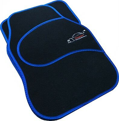 Full Black Carpet Car Floor Mats With Blue Boarder For Dacia 1310, Duster, • 12.99£