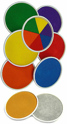 Large Round 15cm Colour Ink Pads Rubber Stamps Finger Painting Craft Cardmaking • 3.65£