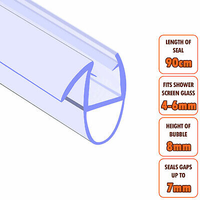 ECOSPA Bath Shower Screen Door Seal Strip • For 4-6mm Glass • Seals Gaps To 7mm • 5.49£