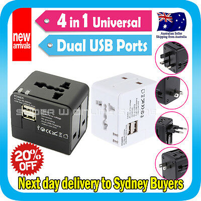 AU19.99 • Buy Travel Adapter Universal AC Converter Socket Plug IPhone5 USB Charger Port Black