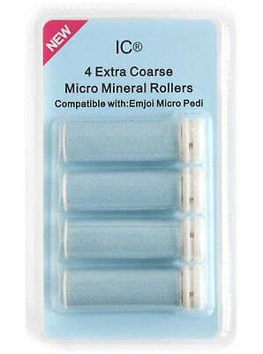 Emjoi Micro Pedi 4 X Extra Coarse Micro Mineral Replacement Rollers By IC® NEW • 6.99£