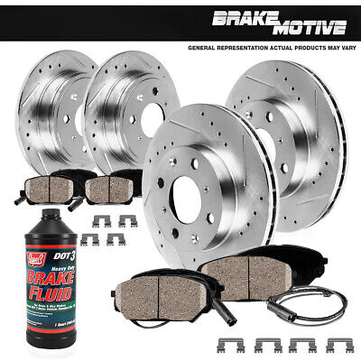 $104.87 • Buy Front+Rear 4 Drill Slot Brake Rotors And 8 Ceramic Pads For BMW 325 318 328 E30