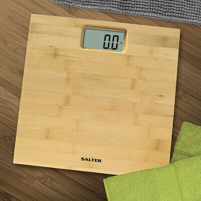 Salter Bamboo Wood Digital Bathroom Scales - Natural Wooden Weighing Scale NEW • 29.99£