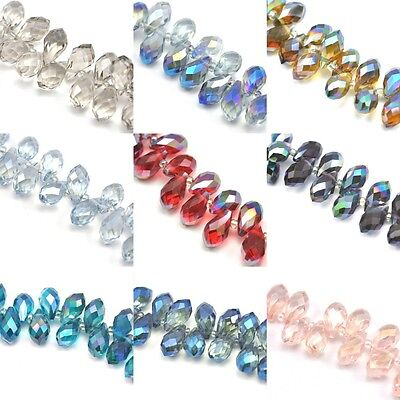 46pcs  14mm Teardrop Briolette Top-drilled Faceted Crystal Glass Beads  • 4.29£