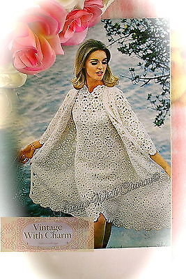 Vintage 70s Crochet Pattern Wedding Dress, Occasion Dress, Coat & Jacket. • 2.99£
