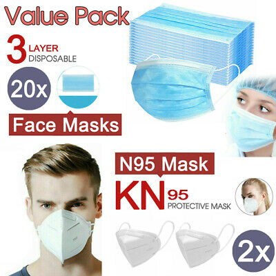AU32.50 • Buy 20x Level 3 PLY Disposable Face Masks + 2x N95 KN95 Masks Respirator Anti Flu