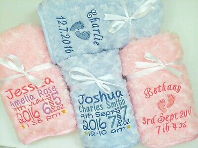 £19.99 • Buy Personalised Baby Blanket Luxury Embroidered Soft Fluffy Blue Pink Boy Girl Gift