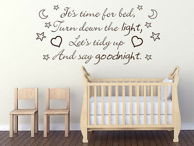 £15.95 • Buy Childs, Nursery Wall Quote  It's Time For Bed... , Wall Sticker, Decal, Transfer