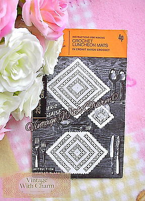 £1.99 • Buy Vintage Crochet Pattern Luncheon Mats  Broderie Anglaise  Design FREE POSTAGE