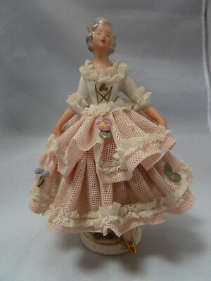 $ CDN118.63 • Buy Vintage Germany Porcelain Dresden Lace Woman With Pink & White Dress Figurine