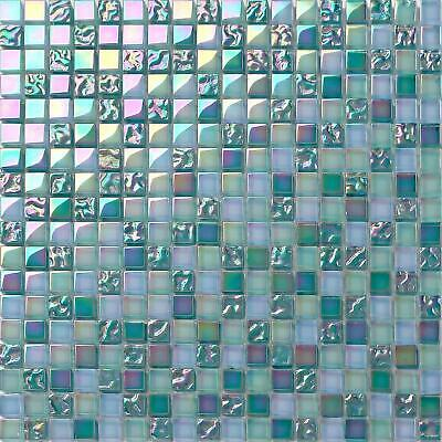 Pearl Aqua Green Iridescent Glass Mosaic Tiles Sheet 300x300x8mm (MT0097) • 7.49£